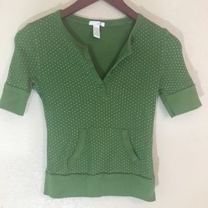 Tops - Green with white polka dots large Henley style top